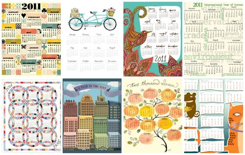 Just a few of the tea-towel calendars in the contest