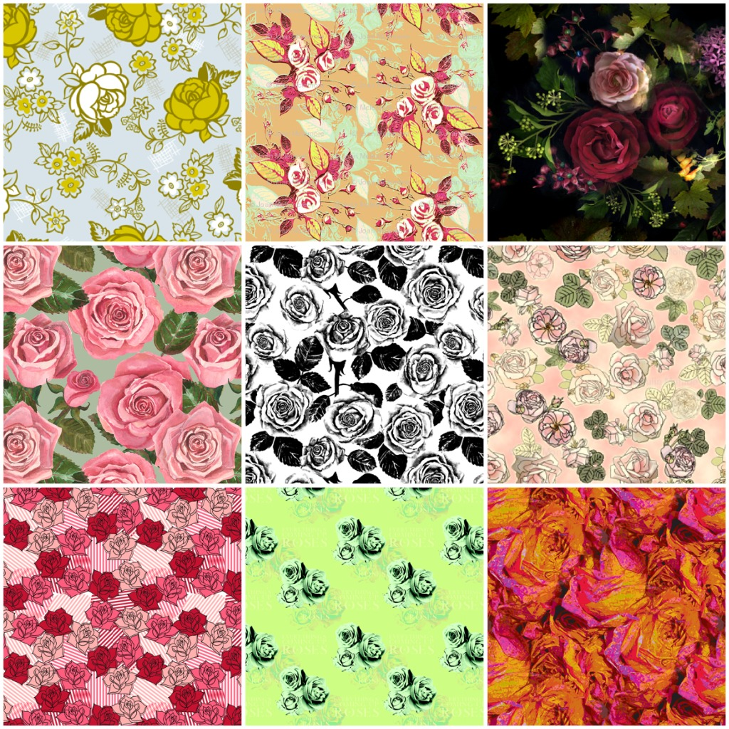English rose garden wallpaper - Rose Fabrics Collage