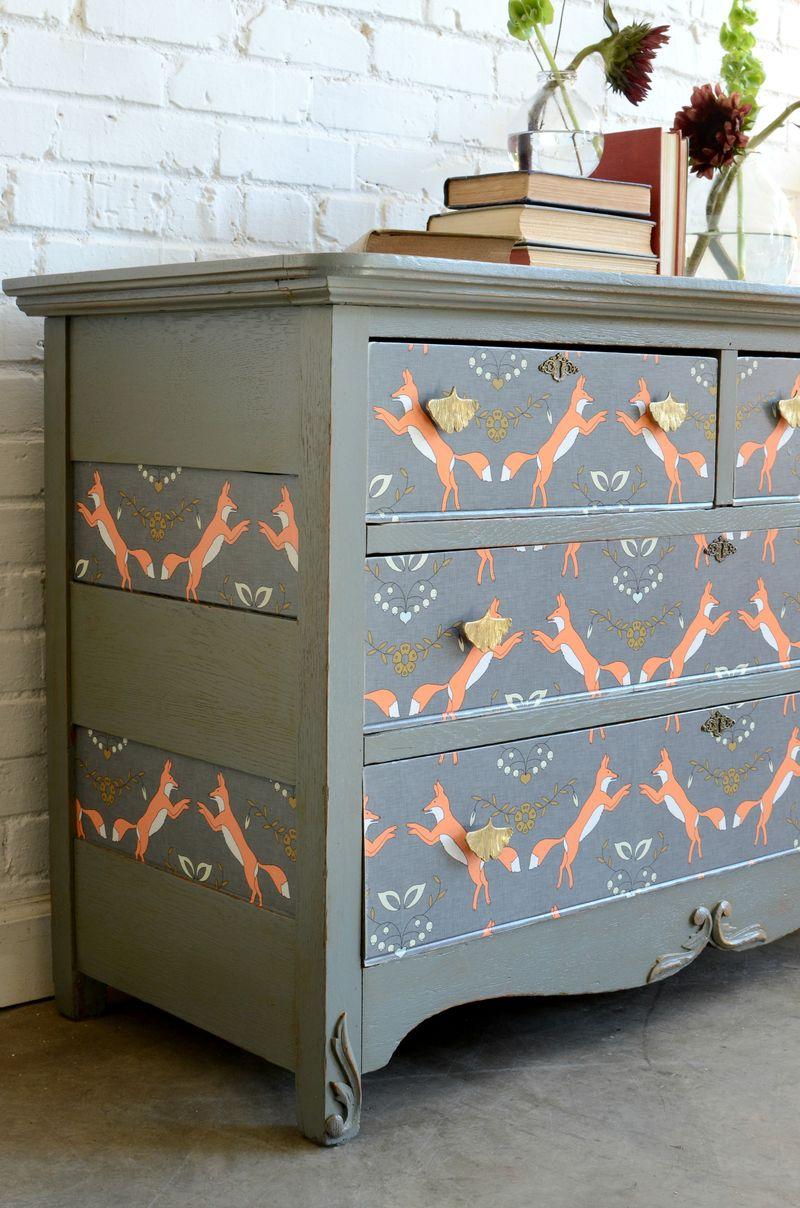 Fox wallpapered dresser