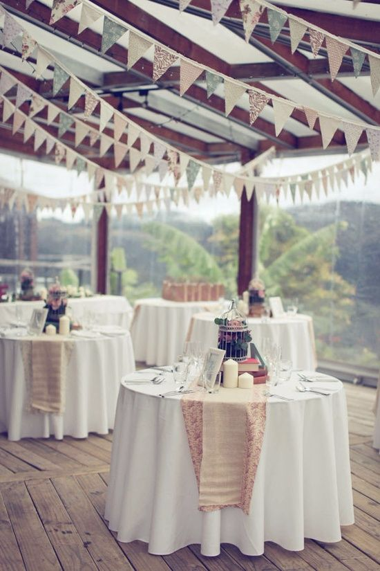 Open air wedding bunting