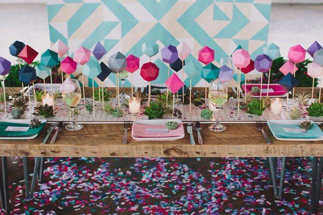 DIY Wedding Table Runner Ideas 3d platonic solids